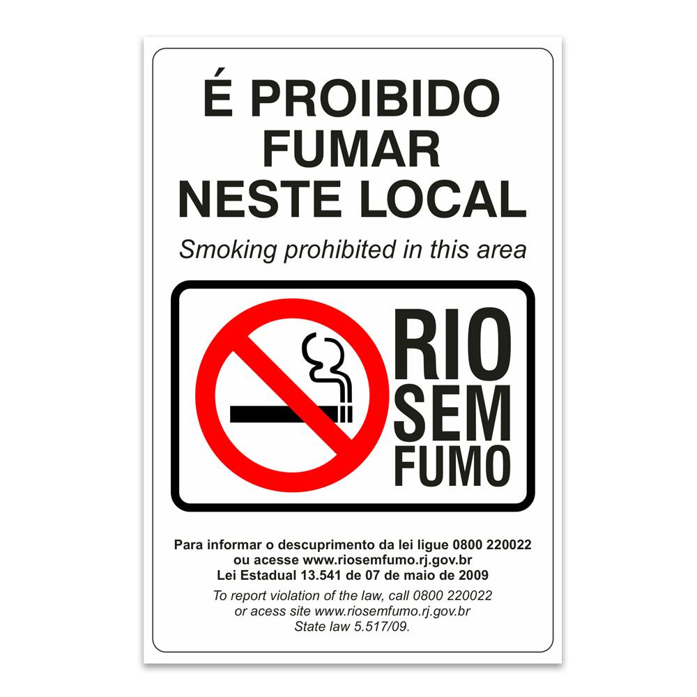 proibido fumar neste local rio sem fumo ingles