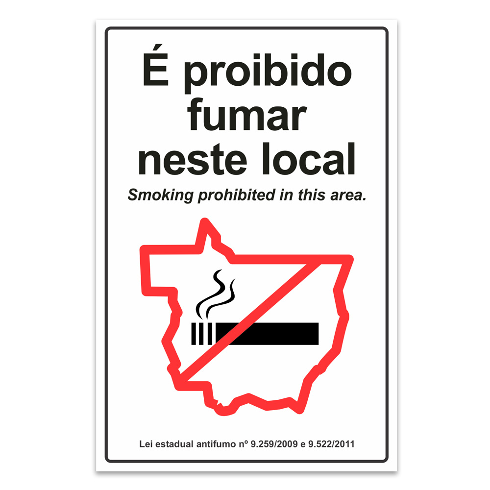 proibido fumar neste local ingles mato grosso